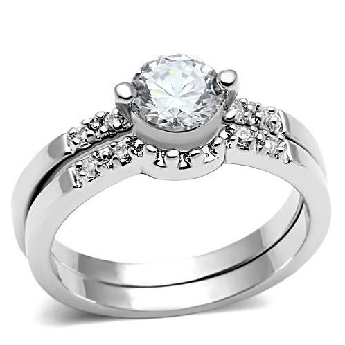 Bridal Set -Engagement Stainless Steel Ring Round Cut CZ & accents