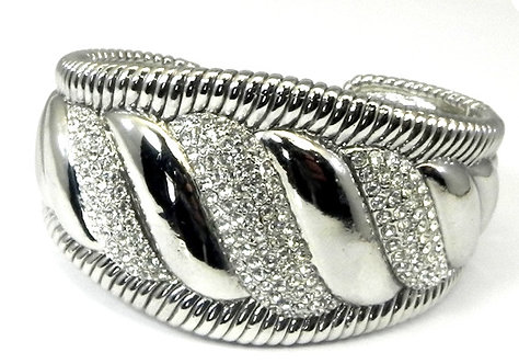 Impressive Designer inspired Rhodium Pave Set Austrian Crystals Bracelet Cuff