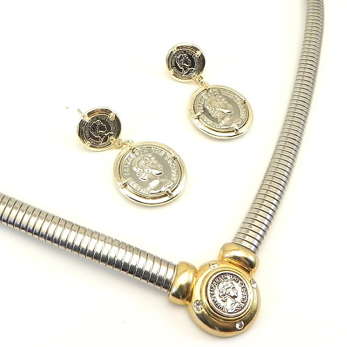 """Designer Inspired Classic 2-Tone """"Coin"""" Necklace and Drop Earrings Set"""