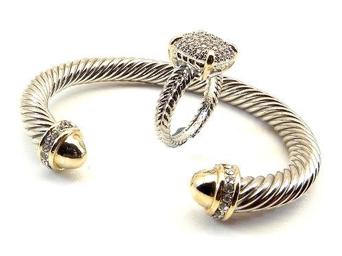 Cable Designer Inspired 2-Tone Pave Tip Bracelet & Ring Set