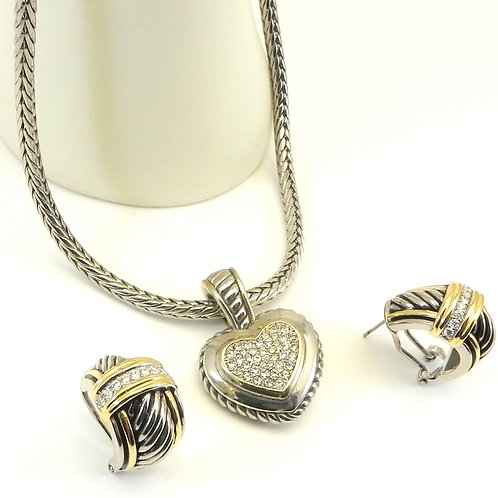 Cable Designer Inspired 2-Tone Clear Pave Heart Pendant-Earring-Chain Set