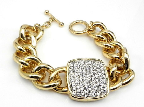 International Designer Inspired Gold Tone & Pave Crystals Square Link Bracelet