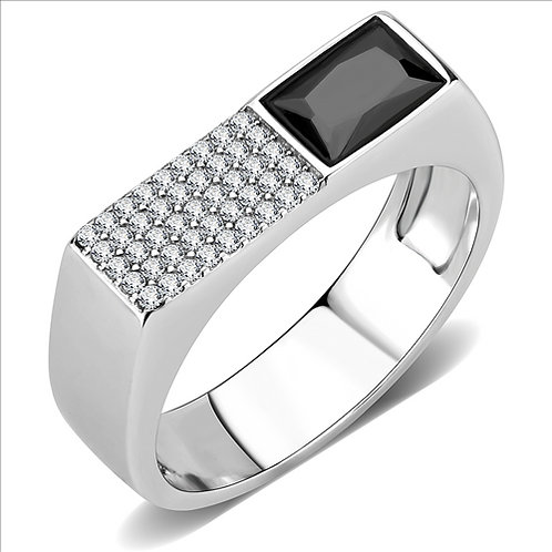 Stainless Steel Men's Ring Black Diamond & Pave Set AAA Cubic Zirconia Sz 8-12