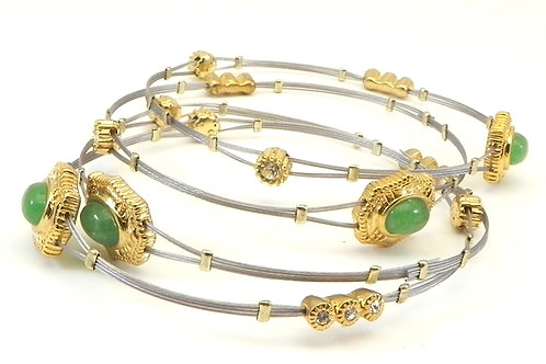 Designer Inspired 2-Tone  Stainless Steel Faux Jade Crystals  Bangle Set