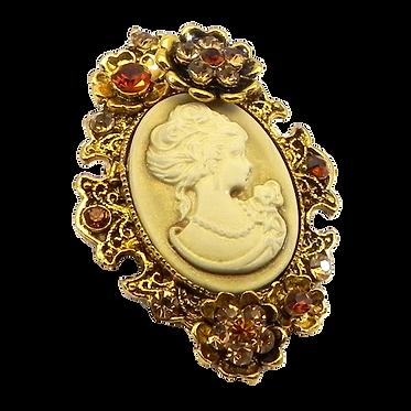 Vintage Inspired Cameo-Topaz Crystals Brooch