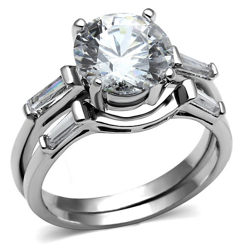Bridal Set Stainless Steel Engagement Ring 9mm 2.75 Ctw Round & Baguette CZ 5-10