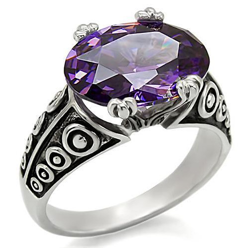 Celtic Inspired 14x10 mm 5.81 Carat Oval Amethyst CZ Stainless Steel Size 5-10.