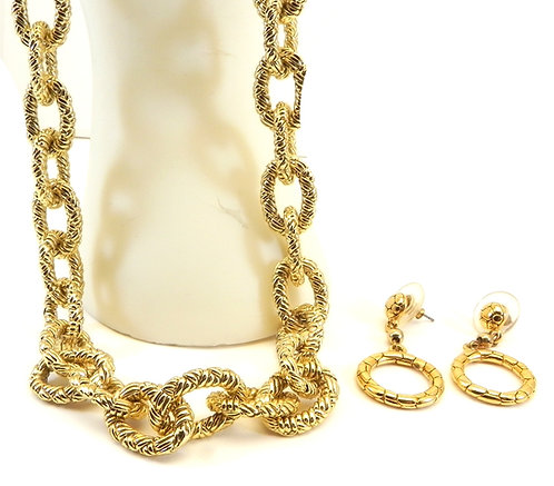 """Gold-Tone Textured Oval Link Toggle 17"""" Necklace & Dangle Earrings"""