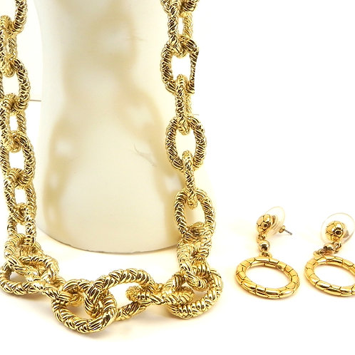 "Gold-Tone Textured Oval Link Toggle 17"" Necklace & Dangle Earrings"