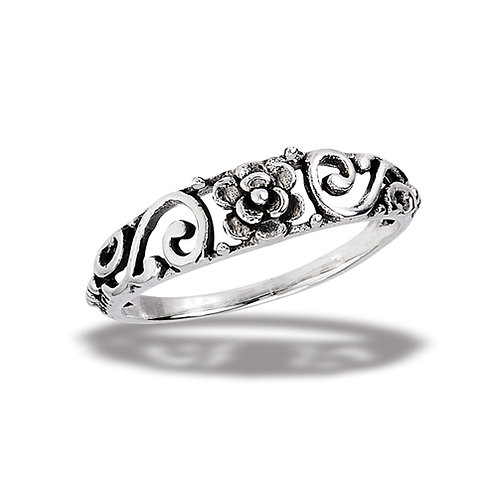 Sterling Silver Very delicate Rose Ring With Embellished Shank Size 7