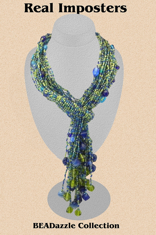 Hand Made Multi Strand Beaded Scarf Necklace-Lariat Green-Blue Combination