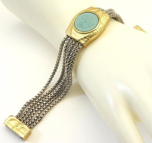 Multi-strand Italian Designer Inspired  2-Tone Simulated Turquoise Bracelet