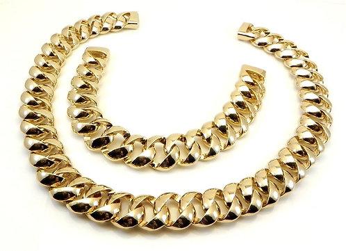 International Designer Inspired Gold-Tone Necklace and Bracelet Set