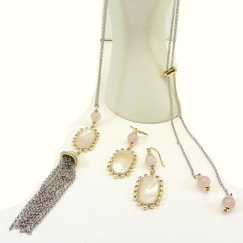 Designer Inspired 2-Tone MOP Tassel LARIAT Necklace, Earring Set