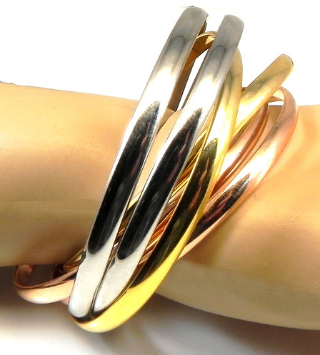 Tri-Tone Rolling  French Designer Inspired Bangle Bracelet