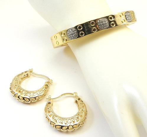 International Designer Inspired Gold-tone Pave Bracelet and Hoop Earring