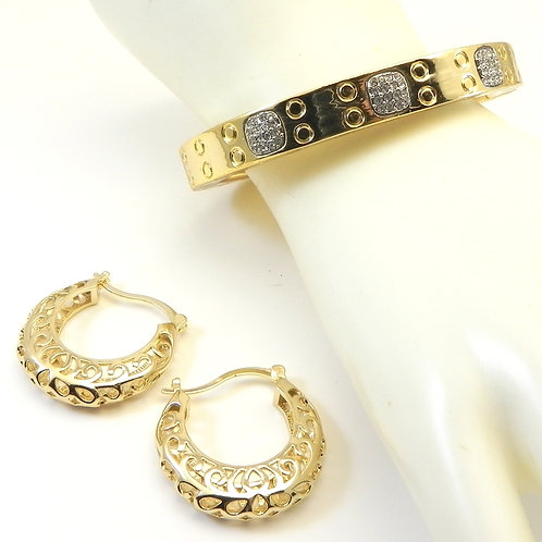 International Designer Inspired Gold-tone Pave Bracelet and Hoop Earring