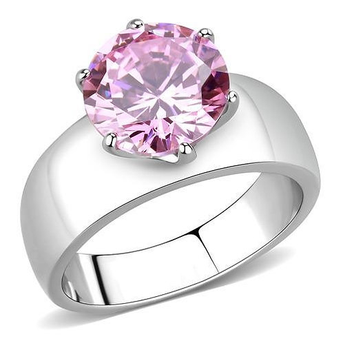 10 MM 3.87 CTW Round Pink CZ Solitaire Wide Band Stainless Steel Ring Sz 5-10