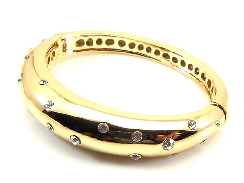 International Designer Inspired Gold Tone Hinged Gipsy Set Crystal Bra