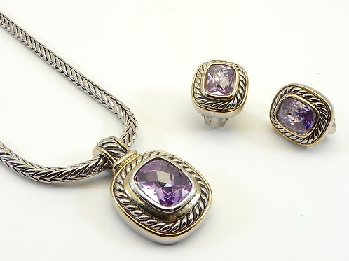 "Cable Designer Inspired 2-Tone Lavender CZ Pendant- Earring-18"" Chain Set"