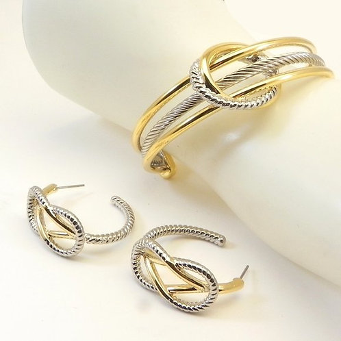 Classic Cable Designer Inspired Two-Tone Bracelet & Earring Set