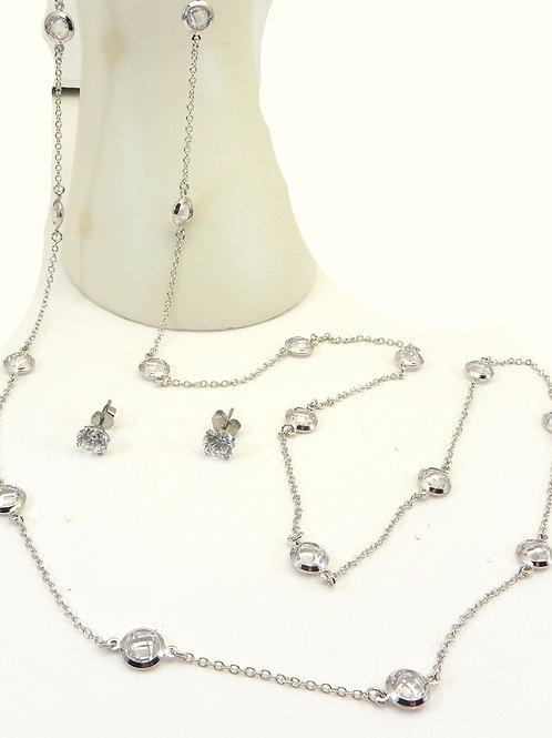 """Delicate Designer Inspired Silver-tone & CZ  36"""" Necklace/Earring Set"""