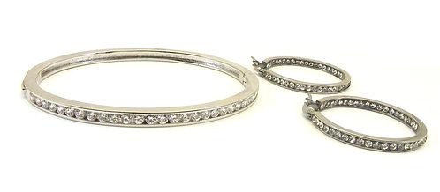 Designer Inspired Silver-tone Bangle Bracelet/Earring Set