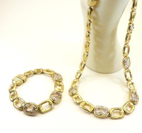 French Designer Inspired Matte Gold-Tone Clear CZ Rectangle & Bracelet Set