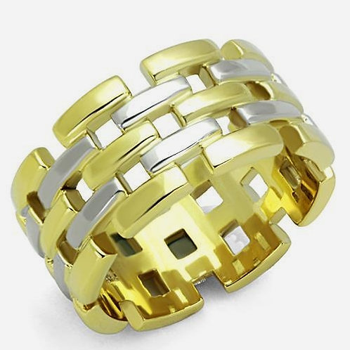 International Designer Inspired Brick Texture 2-Tone Stainless Steel  Ring  5-10