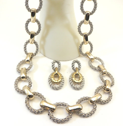 """Chunky Designer Inspired 2-Tone Textured Oval Links 22"""" Necklace-Earring Set"""