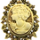 Thumbnail: Vintage Inspired Cameo Gold-Tone Champagne Topaz Austrian Crystals Brooch