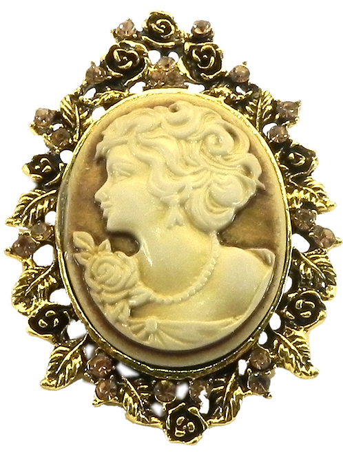Vintage Inspired Cameo Gold-Tone Champagne Topaz Austrian Crystals Brooch