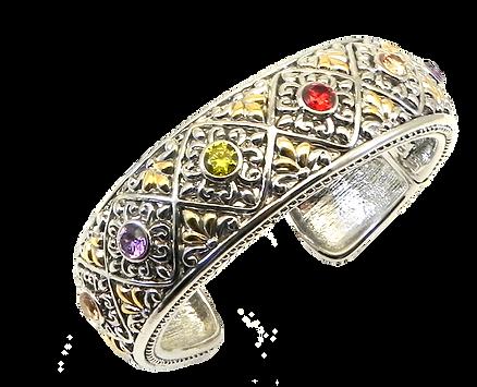 Bold Designer Inspired 2-Tone Multi-Color Gemstone Crystals Bracelet