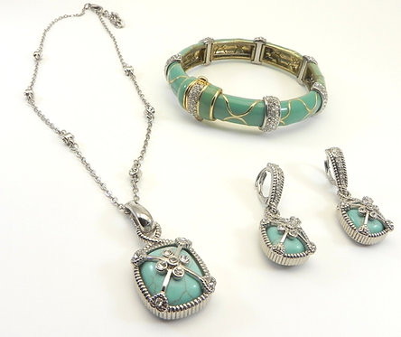 3 Piece Designer Inspired Turq-Blue Silver-Tone Pave Necklace-Bracelet-Earring