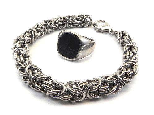 Bali Designer Inspired Byzantine Stainless Steel  Bracelet & Ring 8-13