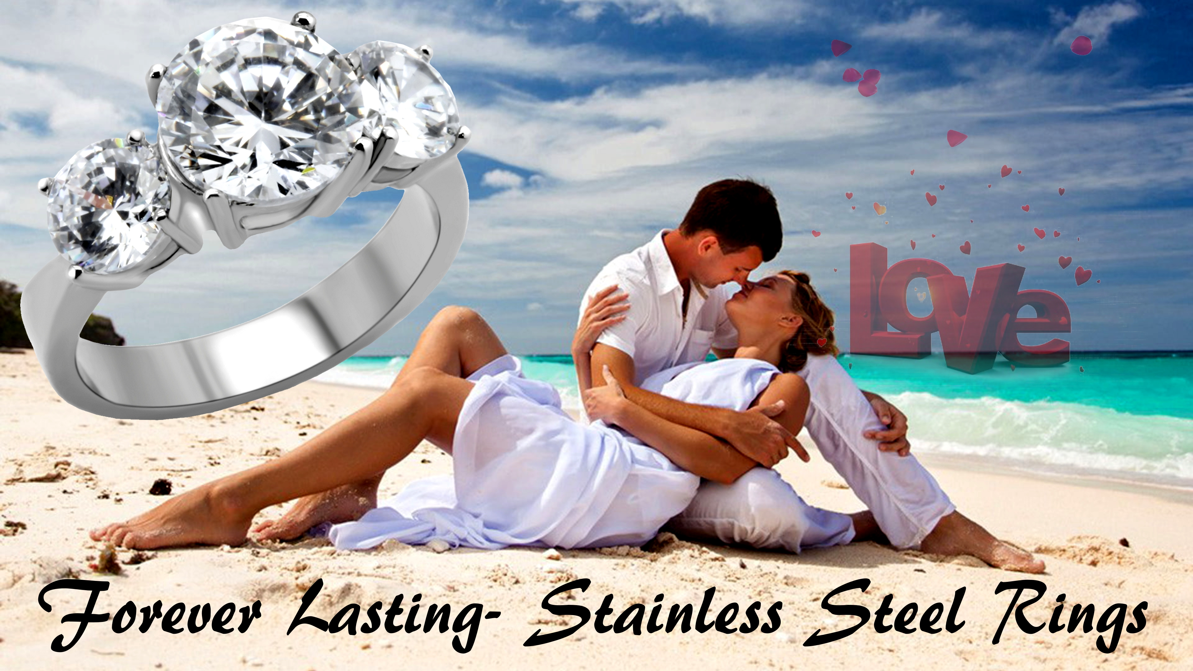 Three Stone 4.43 Carat Round Cut CZ  Stainless Steel Engagement Ring  Bridal-Promise Size 5-10