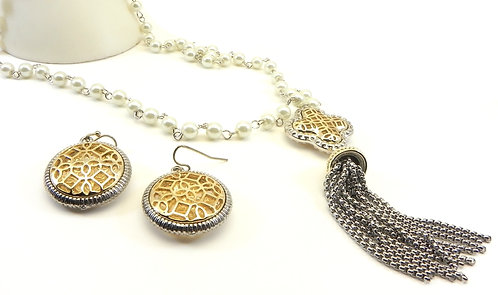 """French Designer Inspired 2-Tone Faux Pearls 35""""+Tassle Necklace-Earring Set"""