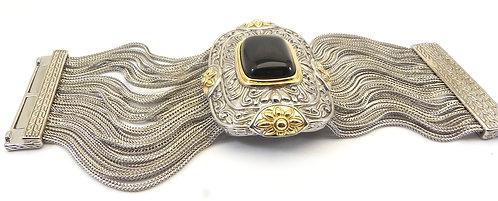 Magnificent Designer Inspired 2-Tone Multi-Strand Black Crystal Bracelet