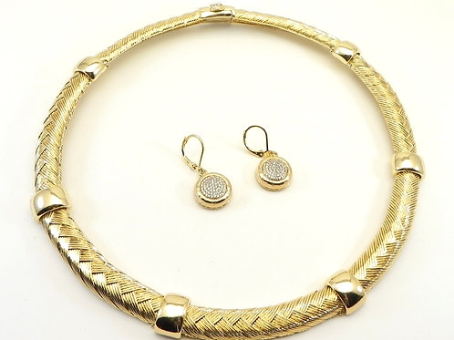 "Parisian Designer Inspired Gold-Tone Braided Texture 18"" Necklace & Earring Set"