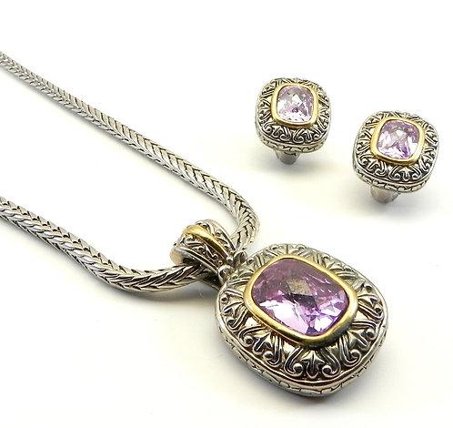 """Bali Designer Inspired  Lavender Austrian Crystal Pendant-Earring & 18"""" Chain"""