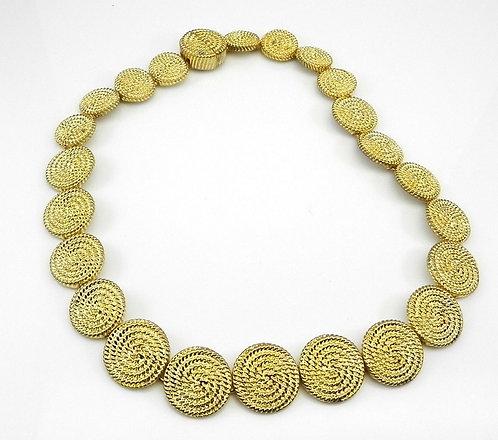 "Designer Inspired Gold Tone Braided Texture Round Discs 17"" Necklace"