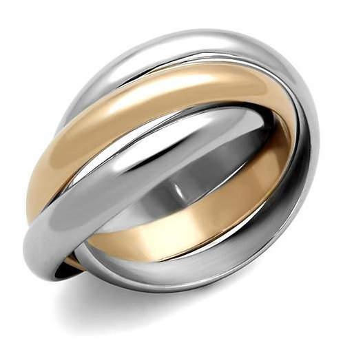 Designer Inspired 2-ToneTriple Rolling Band & Stainless Steel Promise-Ring 5-10