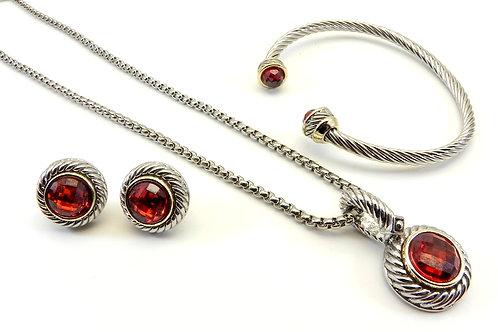 """Delicate Cable Designer Inspired Garnet CZ Pendant-18"""" Chain Bracelet & Earring"""