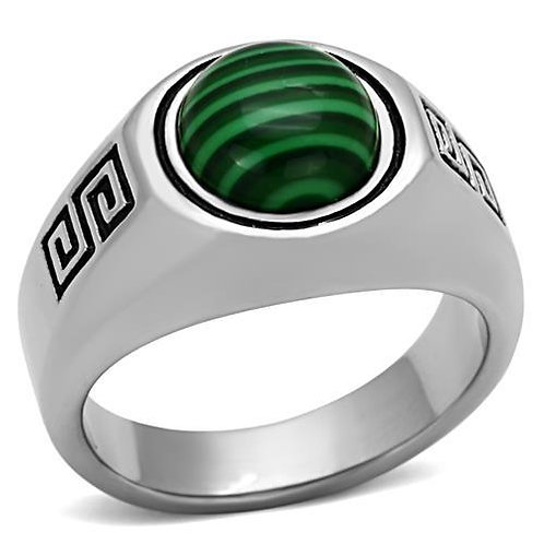 Stainless Steel Men's Ring simulated Emerald CZ