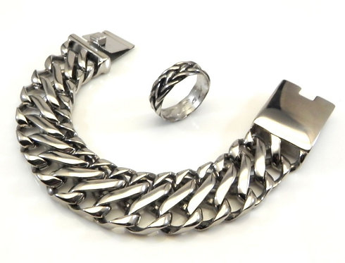 Manly-Bold-Heavy-Dashing Stainless Steel Link Bracelet Ring Set 8-13