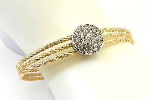 Classic Designer Inspired  2-Tone Cuff 14.4 MM Cable Bracelet w/ Pave
