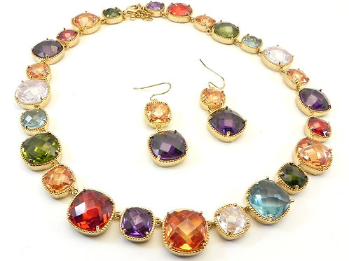 Dazzling Designer Inspired Gold-Tone Square Multi-Color CZ Necklace & Earring
