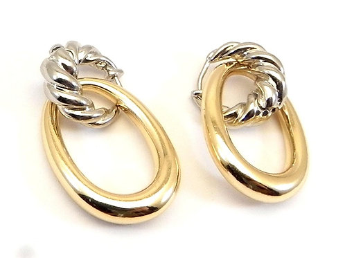 Classic Cable Designer Inspired 2-Tone Dangle Earring