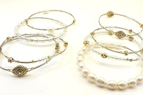 Designer Inspired Stainless Steel Pearl & Crystal Accent Bangle Set