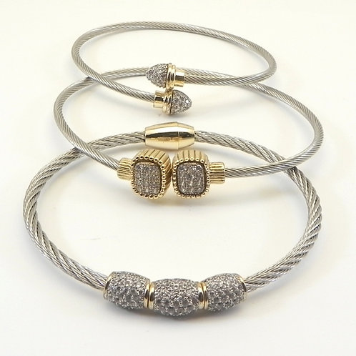Delicate 2.9mm Cable Designer Inspired 2-Tone Pave 3pc Set